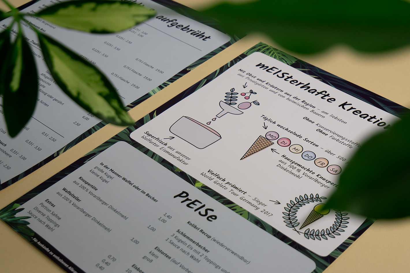 Kolibri Getränkekarte