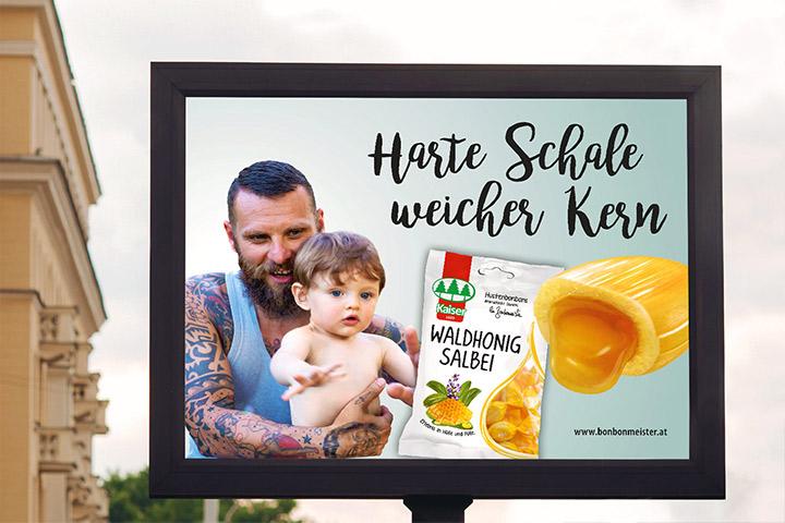Kaiser Bonbon Plakat Harte Schale weicher Kern