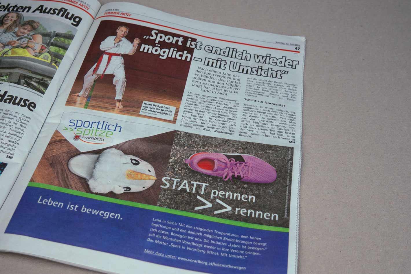 Anzeige Wann&Wo Hochfahren des Sports Land Vorarlberg